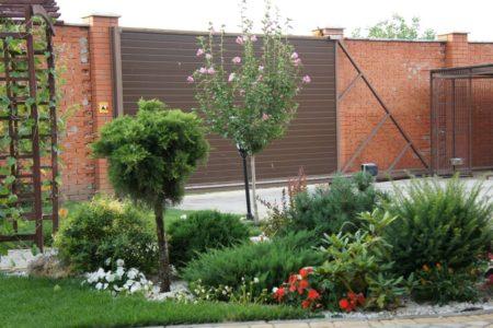 Дизайн частного двора (клумбы и газон)
